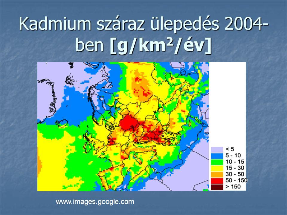 Kadmium száraz ülepedés 2004-ben [g/km2/év]